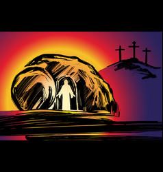 Easter jesus christ rose from dead sunday vector