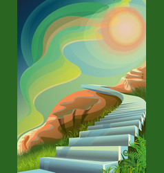 Entry ladder to the ladder on mount olympus vector