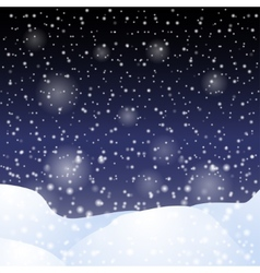 Falling snow against the dark night sky vector
