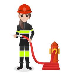 Female firefighter holding water hose vector