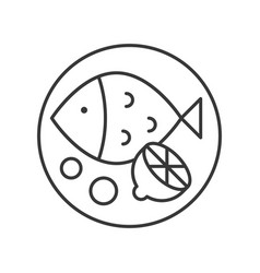 Fish and lemon outline icon vector