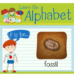 Flashcard letter F is for fossil vector