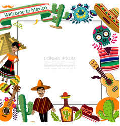flat mexico travel template vector image