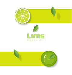 Fresh lime fruit background in paper art style vector
