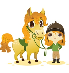 Girl Stand with Small Horse vector image
