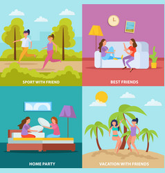 Girls friendship orthogonal concept vector