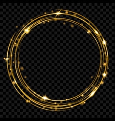 golden glowing fire ring with glitters vector image