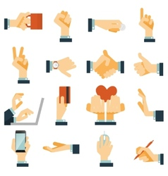 Hand icons set flat vector