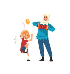 happy girl having fun with animator at birthday vector image