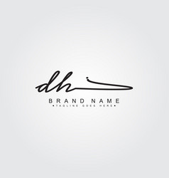 Initial letter dh logo - handwritten signature vector