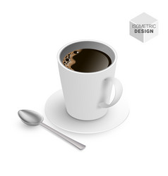 Isometric black coffee cup with spoon and saucer vector