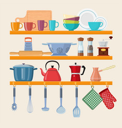 Kitchen shelves with tableware vector