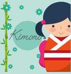 kokeshi japanese national doll in a colored kimono vector image