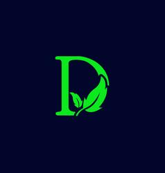 Letter d leaf nature eco green logo template vector