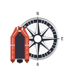 Lifeboat and compass icon vector
