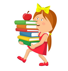 Little girl carrying stack books with red apple vector