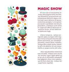 Magic show advertisement banner with equipment for vector