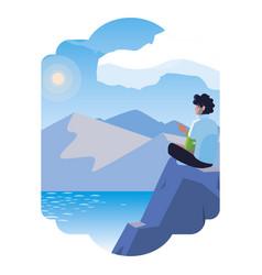 Man contemplating horizon in lake and mountains vector