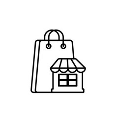 market paper bag commerce shopping line image icon vector image