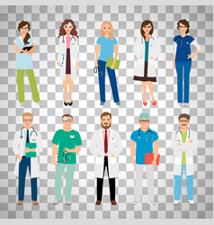 Medical team workers on transparent background vector