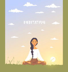 Meditation dawn vector