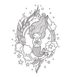 mermaid page for coloring book greeting card vector image