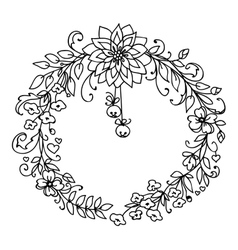 Merry Christmas and New Year wreath with bells vector image