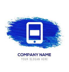 mobile phone icon - blue watercolor background vector image