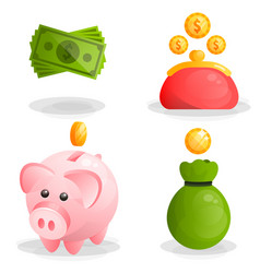 Money coins moneybox piggy and wallet icons vector