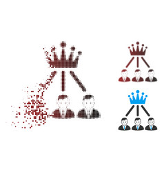 Moving pixel halftone hierarchy men icon vector