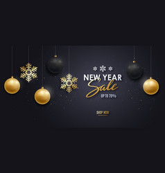 new year sale banner gold and black realistic 3d vector image