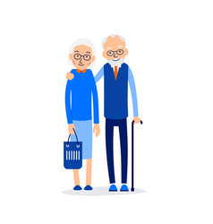 old couple two aged people stand elderly man and vector image