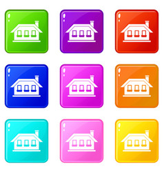 One-storey house with three windows icons 9 set vector