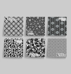 Pack of 6 in 1 vintage greyscale seamless vector