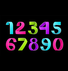 paper folding numbers color ribbon vector image