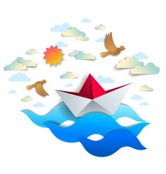 paper ship swimming in sea waves origami folded vector image