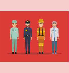 Paramedic police firefighter and doctor men vector