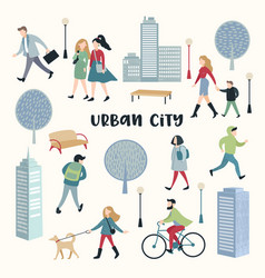 People walking on the street urban city vector