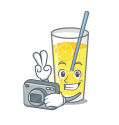 Photographer lemonade mascot cartoon style vector