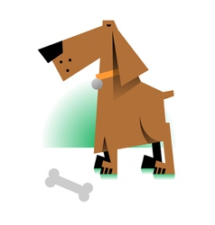 picture of a dog with bone vector image