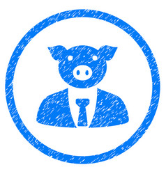 Pig boss rounded grainy icon vector
