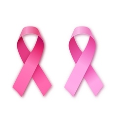 Pink ribbon breast cancer awareness symbol vector