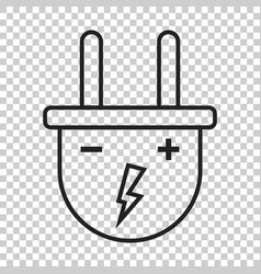 Plug icon in line style power wire cable flat vector