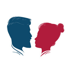 portrait man and woman head profile vector image