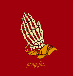 Praying skeleton hands vector