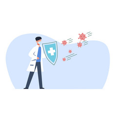 protect covid-19 doctor in medical mask vector image