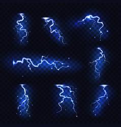 Realistic lightnings blitz lightning thunder vector