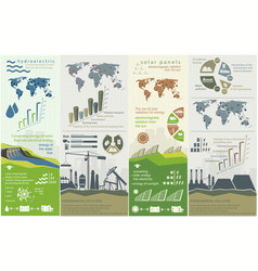 Renewable energy concept of greening and pollution vector