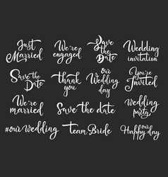 save date marriage white handwritten vector image