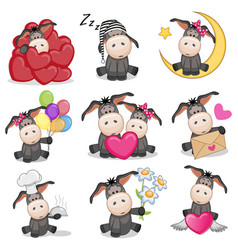 Set of cute cartoon donkey vector